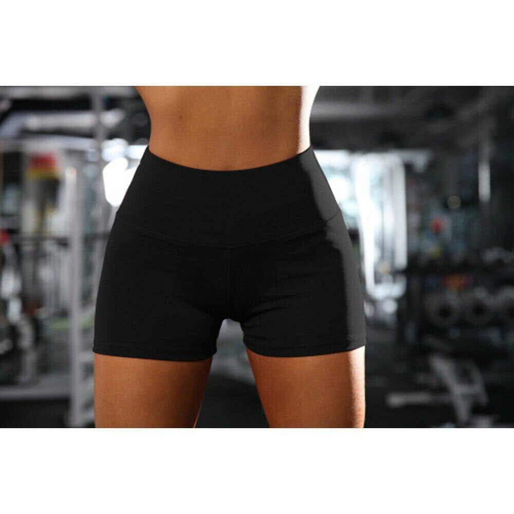 The Best Women Sport Shorts Casual Running Fitness Gym Running Hot Trousers Solid Stretch High Waist Work Out Bottoms Online - Source Silk