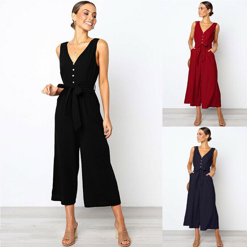 The Best Women Strap Wide Legs Bodycon Jumpsuit Fashion Sleeveless V-neck Loose Linen Baggy Romper Solid Casual Outfits Online - Hplify