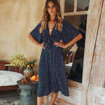 Women Summer Casual Bohemian Dress 2019 Fashion Women Beach Polka Dot Short Sleeve V-Neck Wrap Floral Loose Long Dress - Hplify