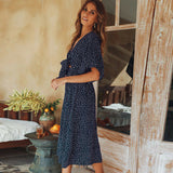 The Best Women Summer Casual Bohemian Dress 2019 Fashion Women Beach Polka Dot Short Sleeve V-Neck Wrap Floral Loose Long Dress Online - Source Silk