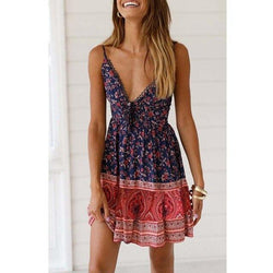 The Best Women Summer Casual Clothes Blue Floral Print Sexy Mini Boho Dress Tunic Off Shoulder Ladies Pleated Dresses Beach Sundress Online - Hplify