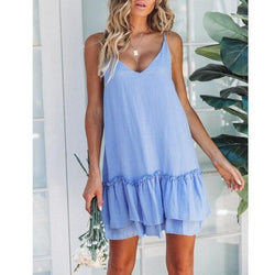 The Best Women Summer Casual Clothes Blue Ruffle Sexy Mini Dress Spaghetti Strap Off Shoulder Ladies Pleated Dresses Korean Sundress Online - Hplify