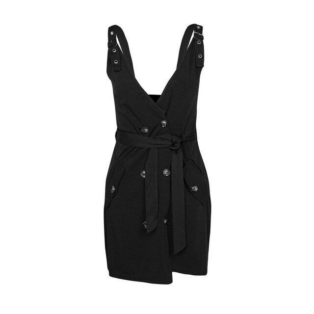 Women Summer Clothes Sexy Black Tunic Lace Up Folding Mini Dress Elegant Ladies Spaghetti Strap V Neck Button Party Club Dresses