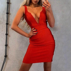 The Best Women Summer Clothes Sexy Red Bodycon Tunic Mini Dress Elegant Spaghetti Strap Backless Party Night Club Wrap Dresses Sundress Online - Hplify