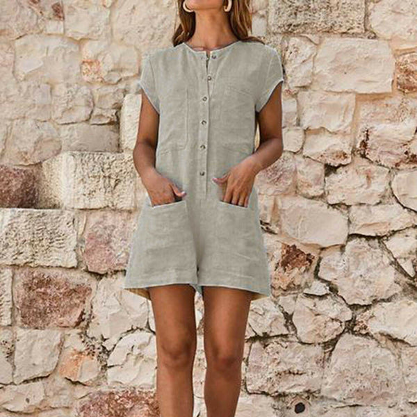 The Best Women Summer Cotton Linen Jumpsuit Ladies Holiday Short Sleeve Casual Loose Playsuit Summer Beach Pocket Shorts Romper Trousers Online - Hplify