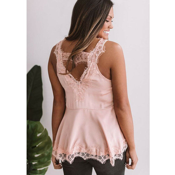 The Best Women Summer Fashion Lace Vest Top Casual Sleeveless Tank Blouse Sexy Ladies Backless Loose Slim Camisole Tank Tops Online - Hplify