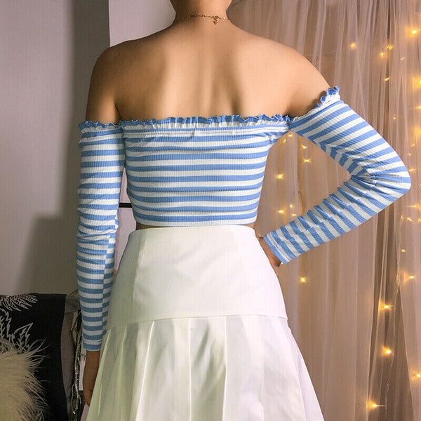 The Best Women Summer Fashion Striped Casual Off Shoulder Tank Top Vest Blouse Ladies Casual Crop Top Shirt Holiday Beach Shirts Online - Hplify