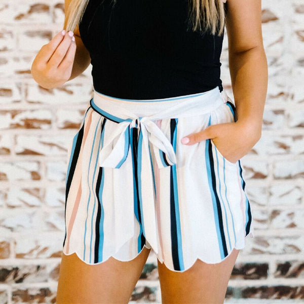The Best Women Summer Fashion Striped Stylish Loose Shorts Beach Drawstring Ladies High Waist Casual Hot Short Trouser New Online - Hplify