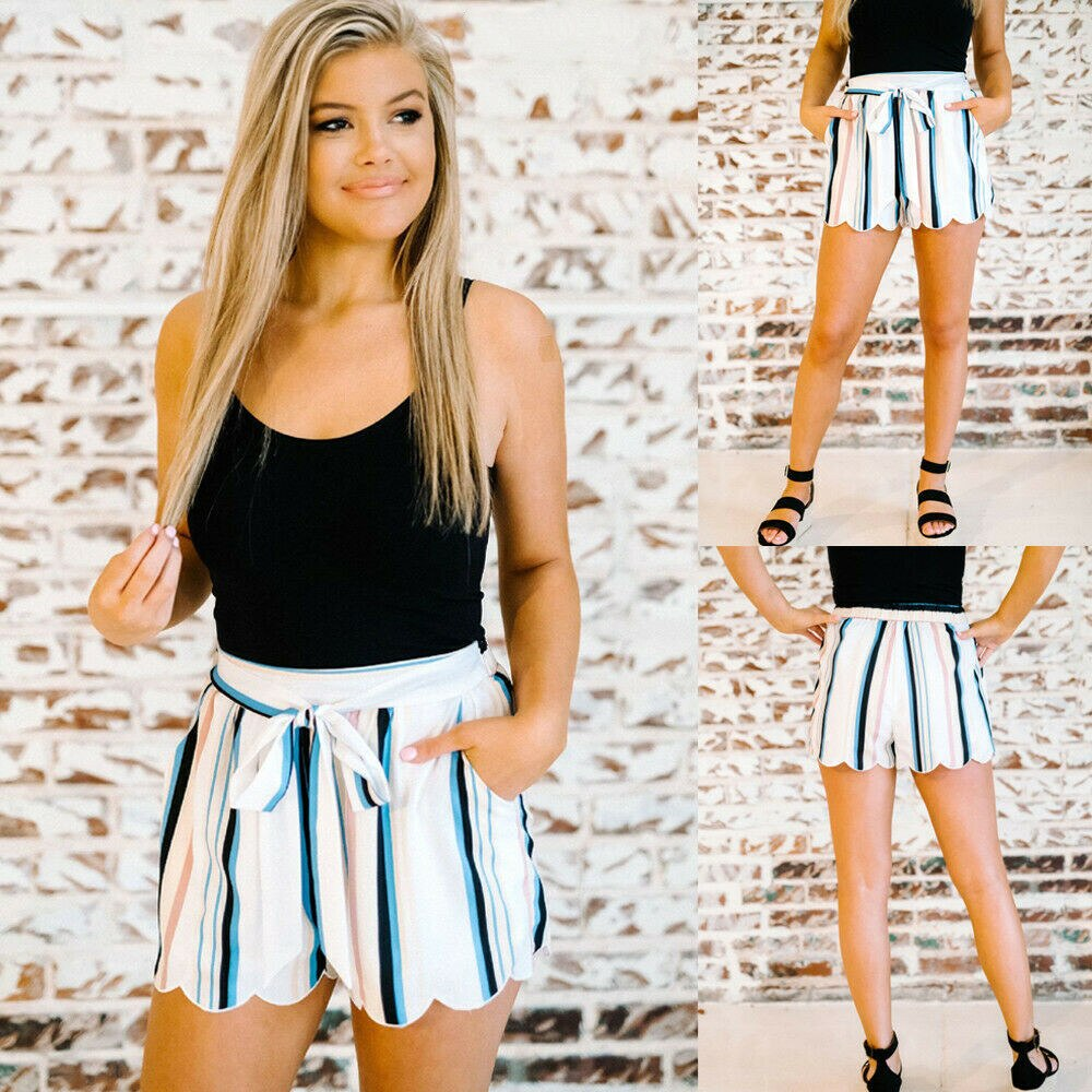 The Best Women Summer Fashion Striped Stylish Loose Shorts Beach Drawstring Ladies High Waist Casual Hot Short Trouser New Online - Source Silk