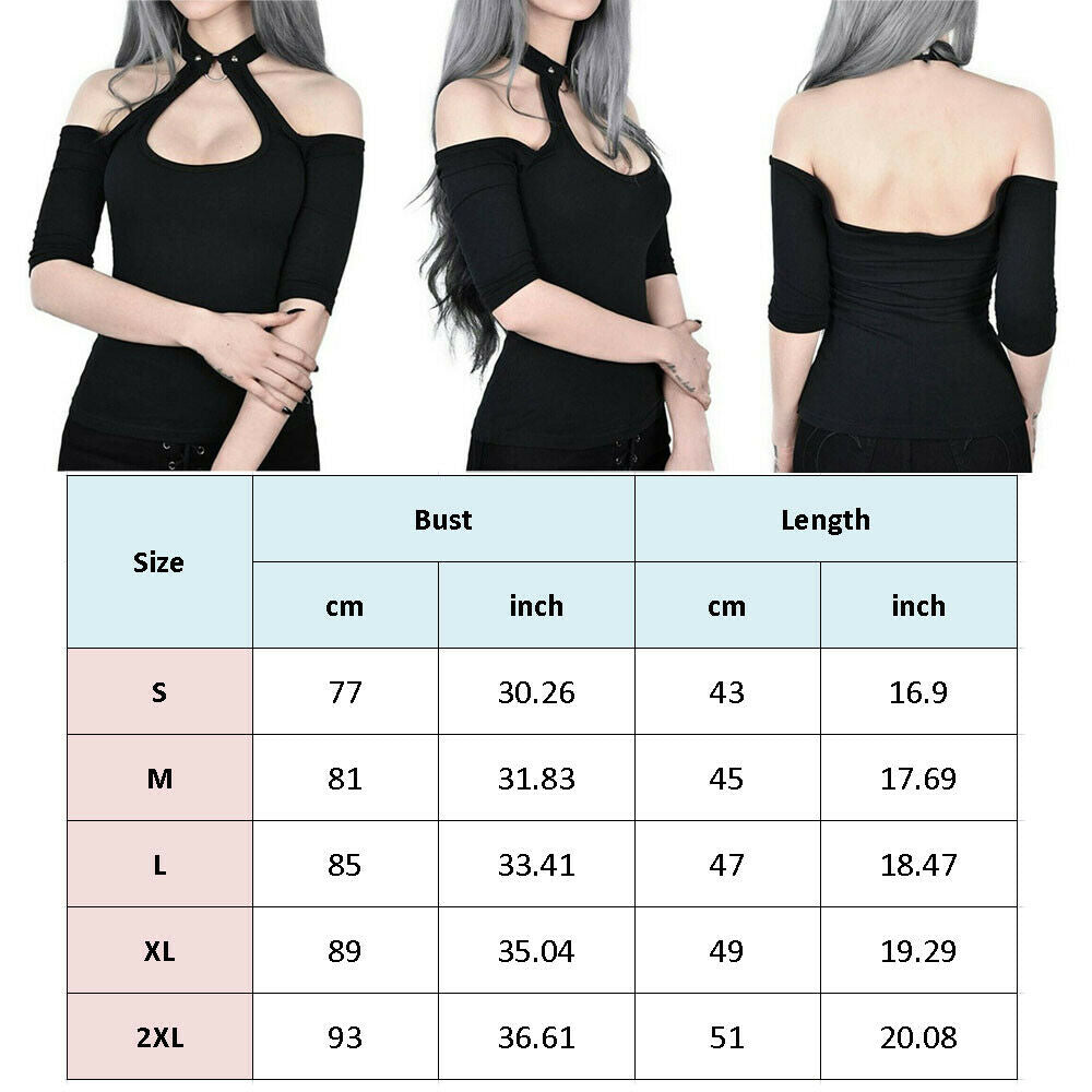 Buy Cheap Women Summer Gothic Tops Ladies Casual Off Shoulder Halter Neck Slim Chain Punk Crop Vest Tops Hot Online - Hplify
