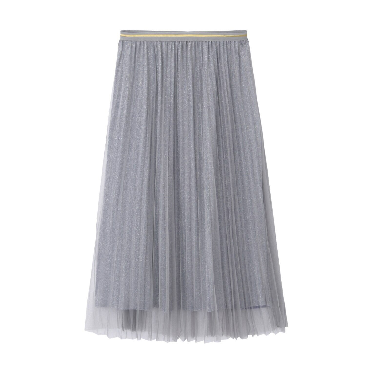 The Best Women Summer Lace Pleated Skirt OL Ladies Fashion Elastic Waist Knee Length Solid Casual Long Swing Skirt Hot Online - Source Silk