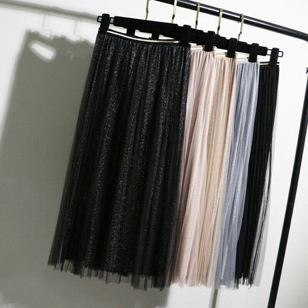 The Best Women Summer Lace Pleated Skirt OL Ladies Fashion Elastic Waist Knee Length Solid Casual Long Swing Skirt Hot Online - Hplify