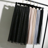 Women Summer Lace Pleated Skirt OL Ladies Fashion Elastic Waist Knee Length Solid Casual Long Swing Skirt Hot
