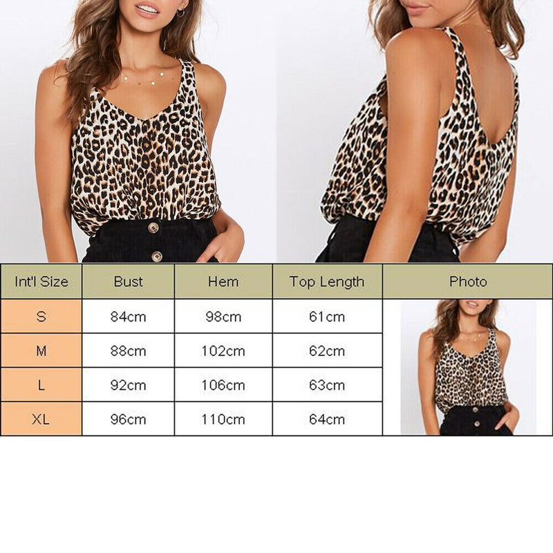 The Best Women Summer Leopard Vest Fashion Ladies Sleeveless Camisole Holiday Daily Casual V-Neck Tank Top Blouse Online - Hplify