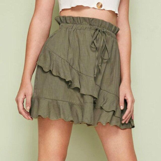 Women Summer Sexy Ruffled Green Estic Waist Bandge Women Skirt High Waist Mini Skirt A Line Skirts Womens Clothes Streetwear