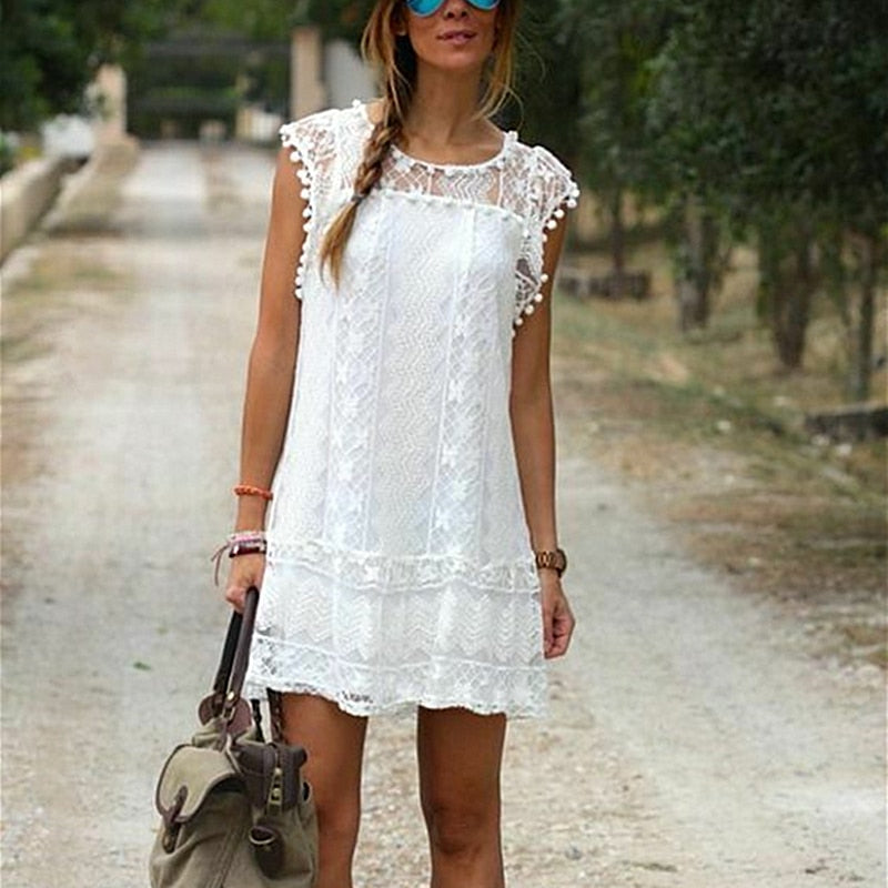Women Summer Short Mini Dress Lace Chiffon Dress Ladies Fashion Floral Sleeveless Holiday Beach Sundress New Solid Casual Dress - Hplify