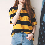 Women Summer Short Sleeveless Striped O-Neck Tops Shirt Ladies Casual Loose Baggy Tops Tunic T-Shirts Plus Size - Hplify