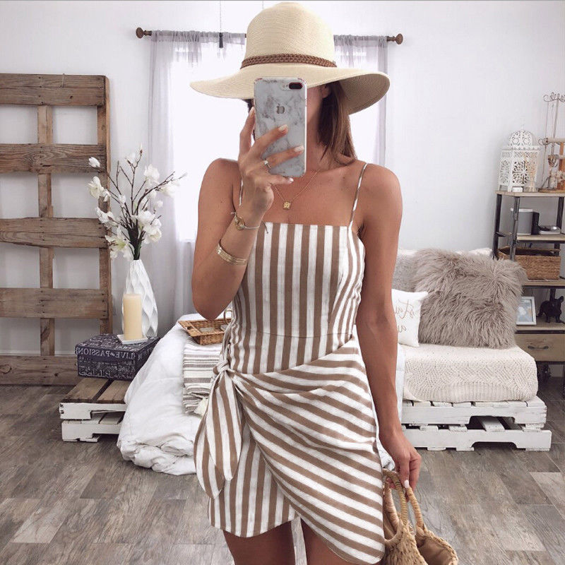 Women Summer Sleeveless Casual Dress Ladies Holiday High Waist Striped Beach Slim Mini Dress Sundress Women Clothing - Hplify
