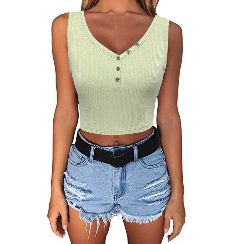 The Best Women Summer Solid Vest Crop Top Ladies Sleeveless Shirt Blouse Casual Stretch Blouse Tank Top Women Clothes Online - Hplify