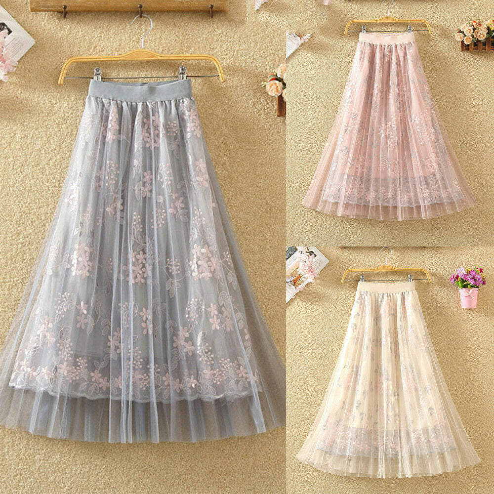 Women Summer Stretch High Waist Maxi Skirts Pleated Beachwear Chiffon Long Casual Floral Print Mesh Skirt - Hplify