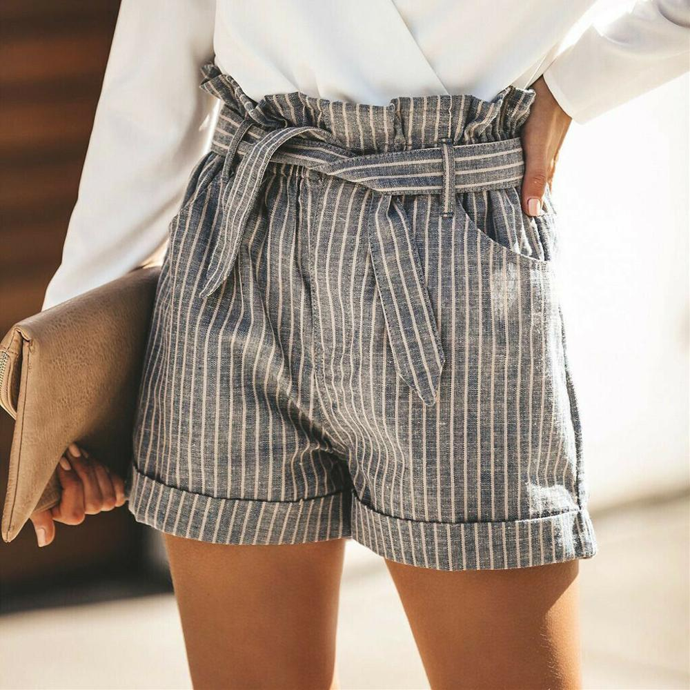 Women Summer Striped Shorts Fashion High Waist Trouser Holiday Beach Drawstring High Waist Casual Loose Hot Shorts - Hplify