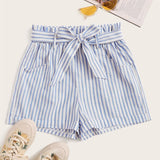 The Best Women Summer Striped Shorts Fashion High Waist Trouser Holiday Beach Drawstring High Waist Casual Loose Hot Shorts Online - Source Silk