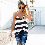 Women Summer Vest Top Striped Sleeveless Tee Shirt Blouse Ladies Beach Casual V-Neck Loose Tank Tops T-Shirt - Hplify