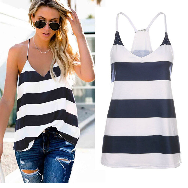 The Best Women Summer Vest Top Striped Sleeveless Tee Shirt Blouse Ladies Beach Casual V-Neck Loose Tank Tops T-Shirt Online - Hplify