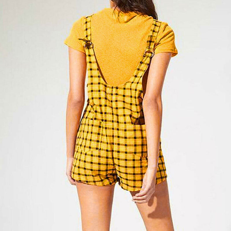 The Best Women Suspender Shorts Sleeveless Plaid Playsuit Fashion Ladies Summer Beach Travel Romper Short Jumpsuit Trousers Online - Hplify