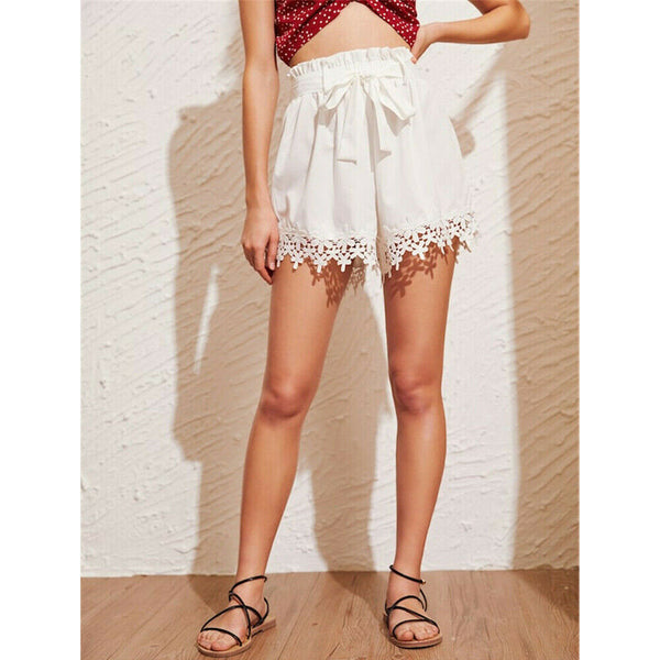 The Best Women Sweet Lace Floral Bandage Shorts Ladies Casual Beach Holiday High Waist Mini Trouser Summer Clothes Online - Hplify