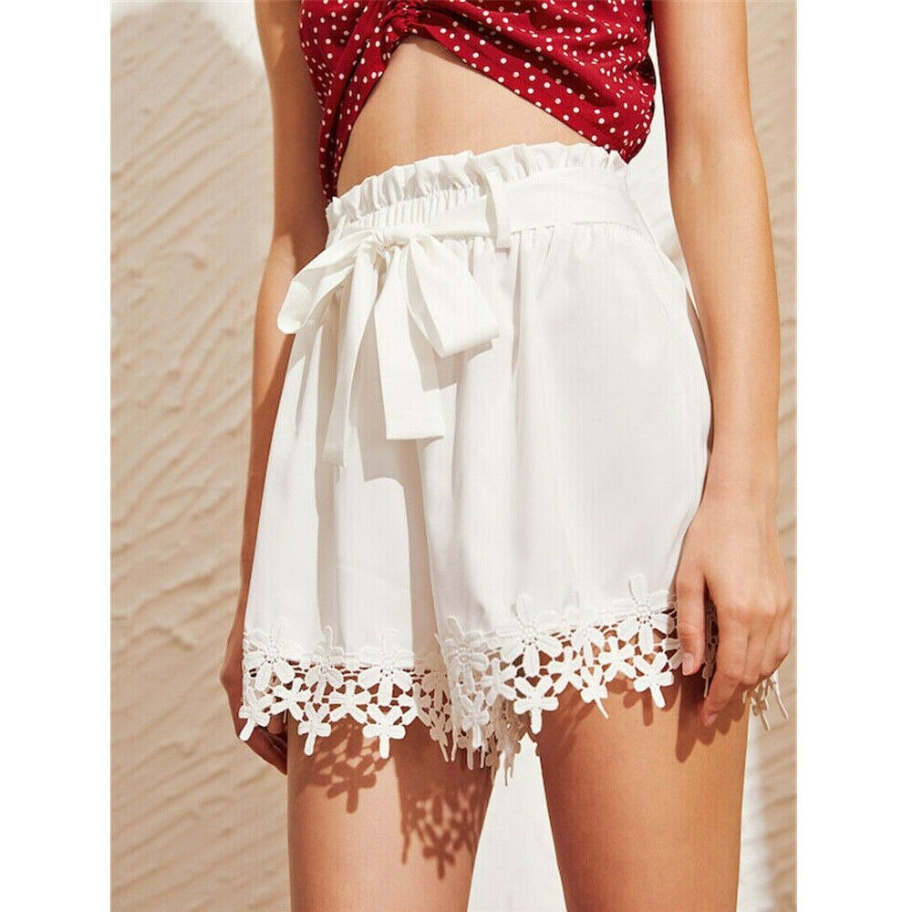 The Best Women Sweet Lace Floral Bandage Shorts Ladies Casual Beach Holiday High Waist Mini Trouser Summer Clothes Online - Source Silk