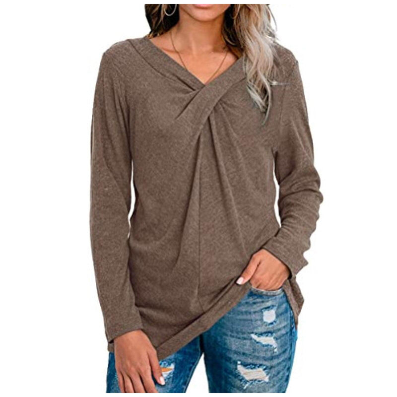 Women V-Neck Solid T-Shirt Loose Long Sleeve Plus Size Shirts Autumn Spring Pullover Tops 2020 Female Cotton Tee Shirts