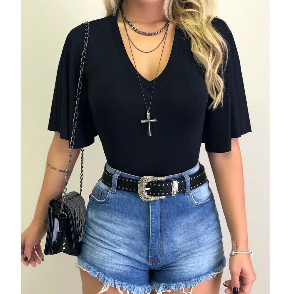 Women V-Neck Solid T-Shirts Female Fashion Summer Simple Casual Tops Beach Holiday Short Sleeve Loose Shirt New - Hplify