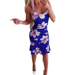 The Best Women Warp Dress Sexy Dress Party Night Sexy Floral Printed Off Shoulder Sleeveless Ruffled Bodycon Mini Dress Online - Hplify
