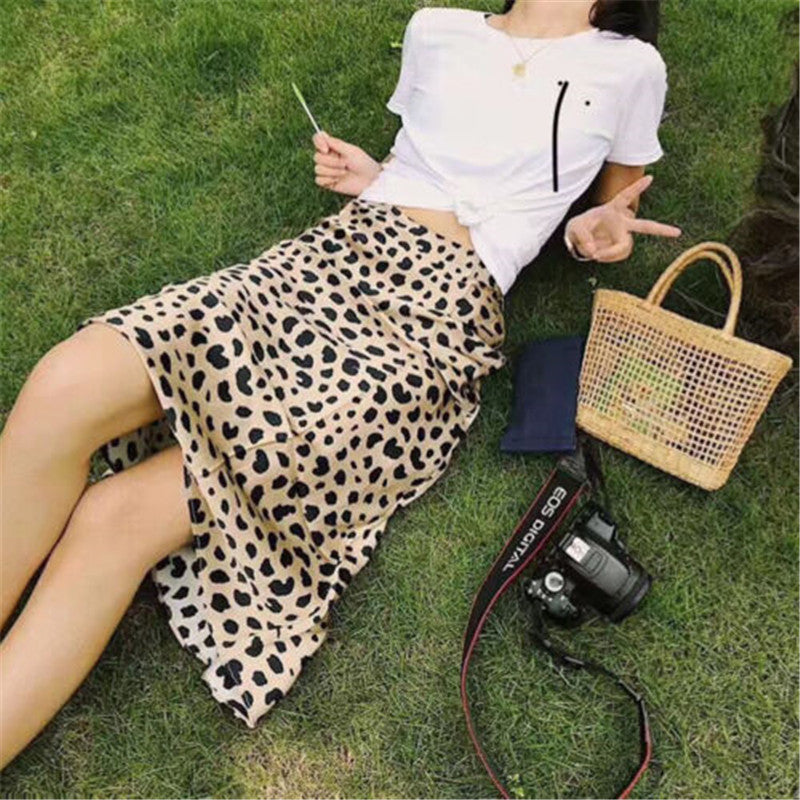 The Best Women Wrap Ruffles A Line High Waist Skirt 2018 Ladies Casual Leopard Printed Short Mini Skirts Slim Leopard Evening Party Skirt Online - Hplify