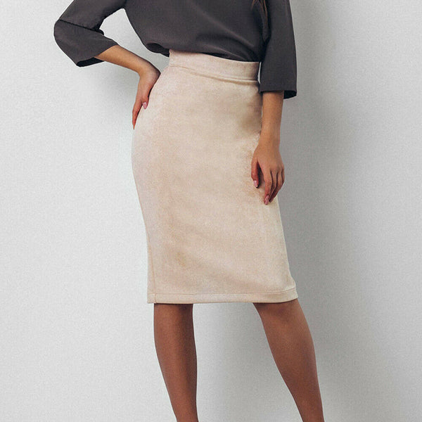 The Best Women's High Waisted Plain Jersey Summer Bodycon Tube Stretch Pencil Mini Skirt Office Ladies Casual Knee Length Skirt Online - Hplify