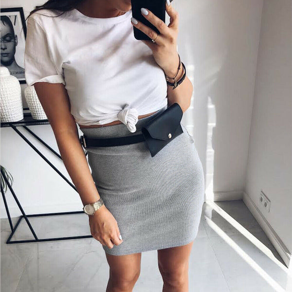 The Best Women's High Waisted Plain Sexy Summer Bodycon Tube Stretch Pencil Mini Skirt Retro Solid Slim Fit Knitted Skirt Online - Hplify
