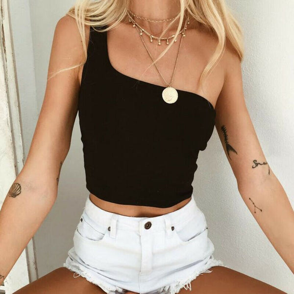 The Best Women's Plain One Shoulder Sleeveless Sports Bra Ladies Bralet Casual Vest Tank Vest Blouse Sleeveless Crop Top Online - Hplify