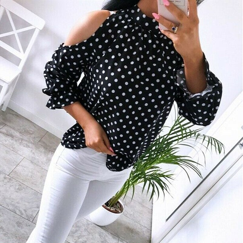 Women's Casual Slim Bodycon O Neck Cold Shoulder Long Sleeve Tops T-Shirt Blouse