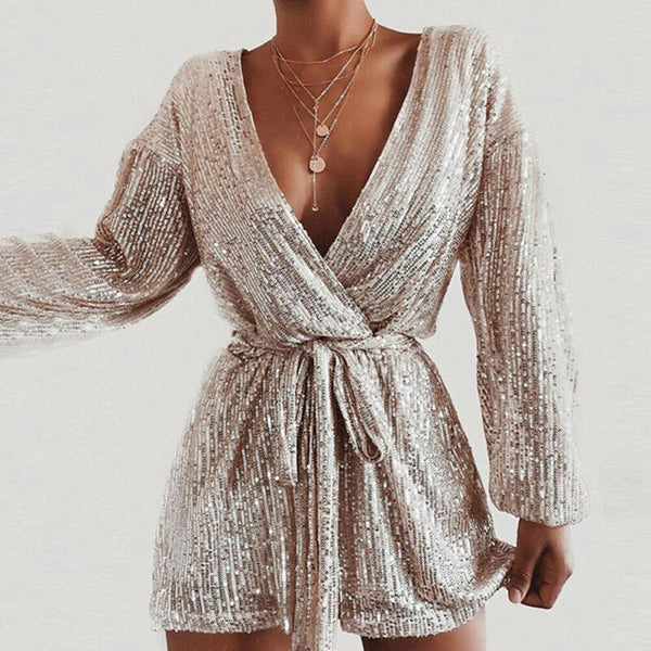 The Best Women's Sequins Bodycon Jumpsuit Fashion Long Sleeve Party Bandage Deep V Neck Playsuit Shorts Romper Bodycon Trousers Online - Hplify