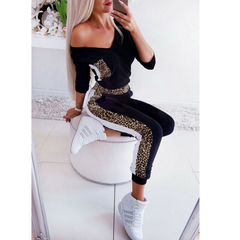 The Best Women's Sexy V Neck Leopard Print Stretch Romper Fashion Ladies Bodycon Slim Autumn Long Jumpsuit Playsuit 2019 Online - Hplify