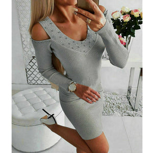 Women's Sexy V-Neck Long Sleeve Rhinestone Collar Dress Off Shoulder Short Knitted Bodycon Jumper Dress Winter Sweater Top Dress - Hplify