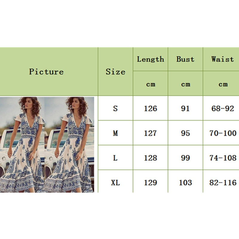 Women's Summer Boho Casual Long Beach Dress Fashion Ladies Casual Print V-neck Short Sleeve Mid-Calf Loose Sundress - Hplify