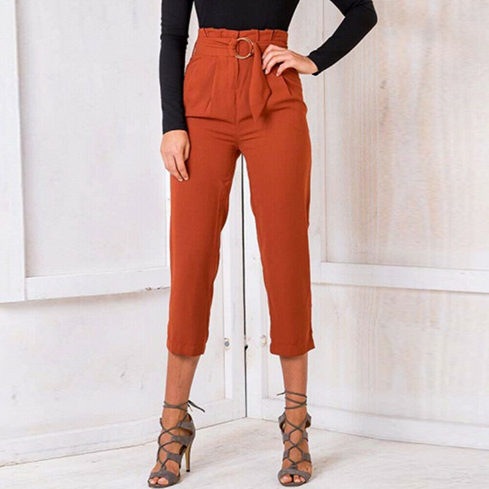 Women's Wide Leg Elastic High Waist Pants OL Ladies Casual Loose Long Palazzo Stretch Slim Fit Lounge Wear Trousers - Hplify