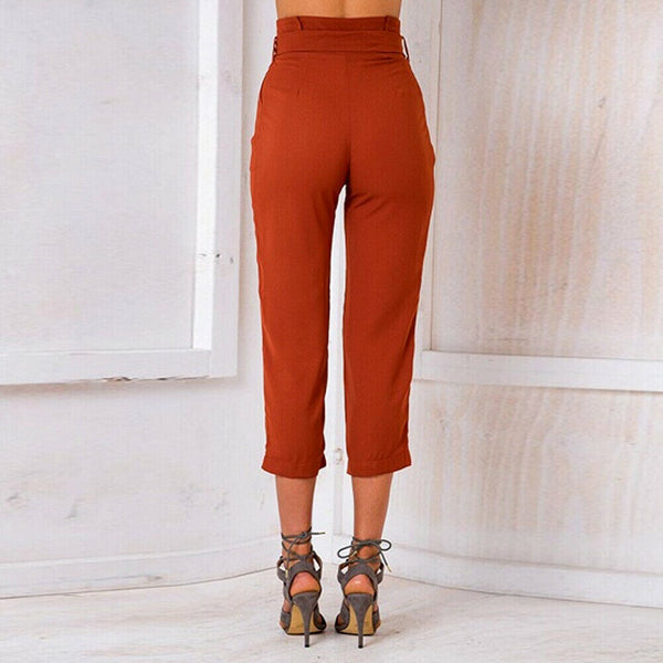 The Best Women's Wide Leg Elastic High Waist Pants OL Ladies Casual Loose Long Palazzo Stretch Slim Fit Lounge Wear Trousers Online - Hplify