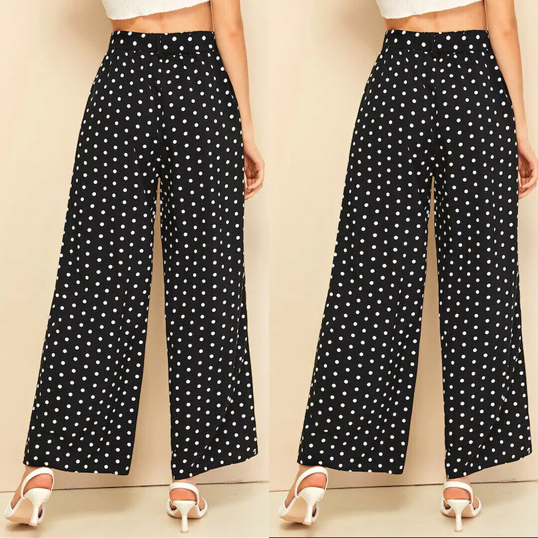 The Best Women's Wide Leg Pants Casual Loose Polka Dot High Waist Long Palazzo Jeans Fashion Beach Lounge Wear Trousers Online - Source Silk