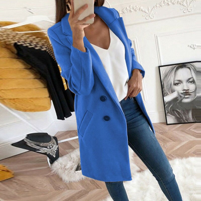 The Best Women's Woolen Warm Trench Coat Thick Jacket Fashion Ladies Autumn Winter Blazer Long Casual Outwear Overcoat 2019 Online - Hplify