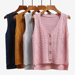 Women sleeveless knitting sweater vest pullover Autumn basic waistcoat vest for women Knitted vests with button - Hplify