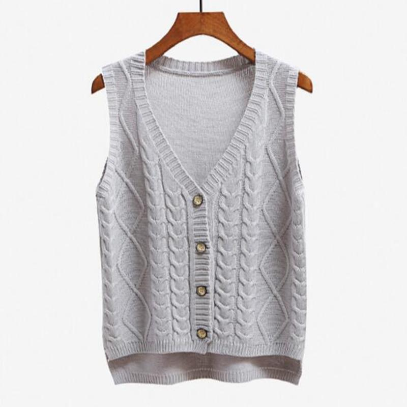 The Best Women sleeveless knitting sweater vest pullover Autumn basic waistcoat vest for women Knitted vests with button Online - Hplify