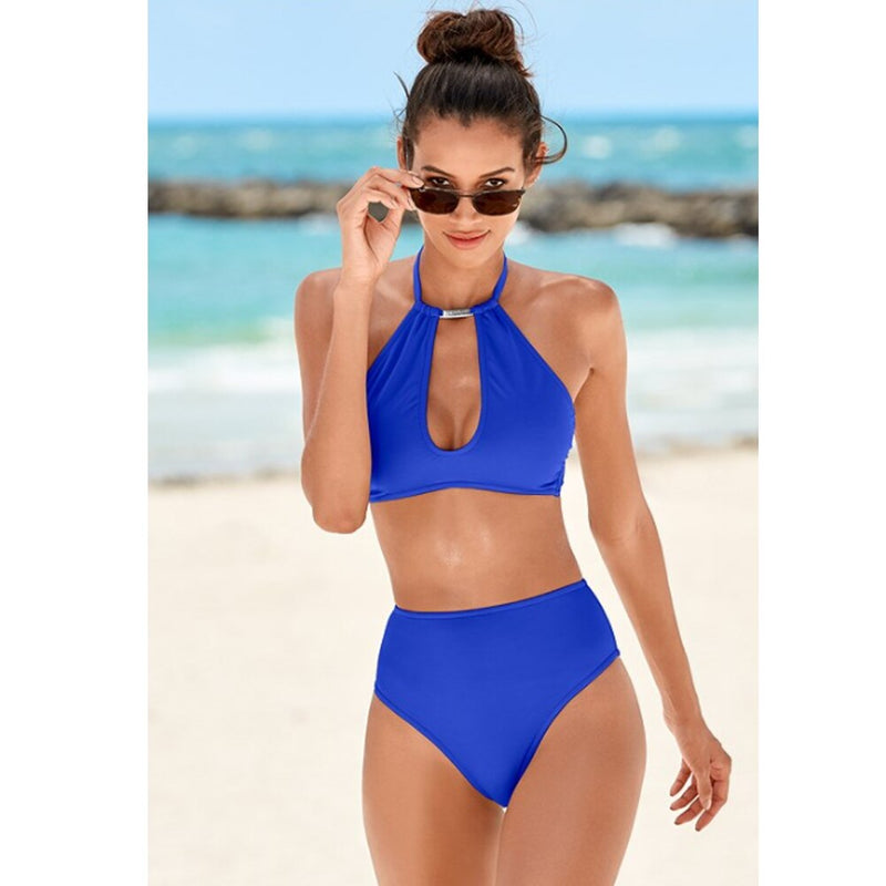 The Best Womens Halter Neck Monokini Two Piece Bikini Padded Swimsuit Hollow Out Swimwear Online - Hplify